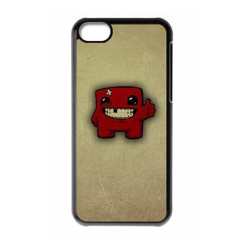 Super Meat Boy coque iPhone 5c cellulaire cas coque de téléphone cas téléphone cellulaire noir couvercle EEECBCAAN07109