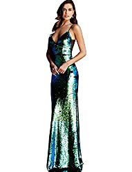 Multi Reverse Sequin Spaghetti Straps Prom Dress