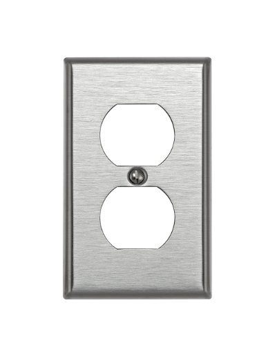 Stainless Steel Wall Plate - Leviton 84003 1-Gang Duplex Device Receptacle Wallplate, Standard Size, Device Mount, Stainless Steel