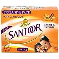 Santoor Sandal and Turmeric Soap (Pack of 4 soaps 150g each)