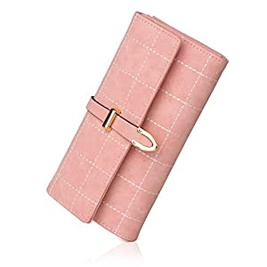 APHISONUK Women's Soft Leather Long Wallet Lady Credit Card Clutch Purse(Pink/Blue) /Gift Box