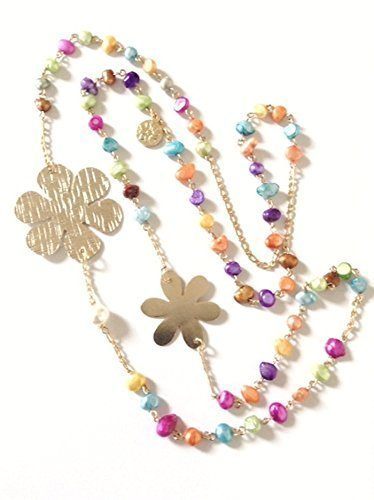 Rainbow Cultured Pearl Necklace 35 inches long Handmade Flower Charms ()