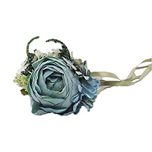 Abbie Home Prom Wrist Corsage Brooch Boutonniere Set Wedding Event Party Wristband Hand Flower Décor (1014BL) 4