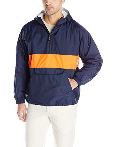 Charles River Apparel Wind & Water-Resistant Pullover Rain Jacket (Reg/Ext Sizes), Navy/Orange, S ()