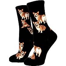 ModSocks Women's Corgi Butt Strut Crew Socks in Black (Fits Most Women Shoe Size 6-10)