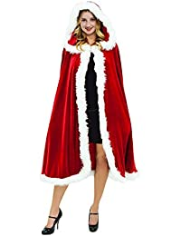Quesera Women's Christmas Cloak Deluxe Velvet Mrs Santa Hooded Cape Costume