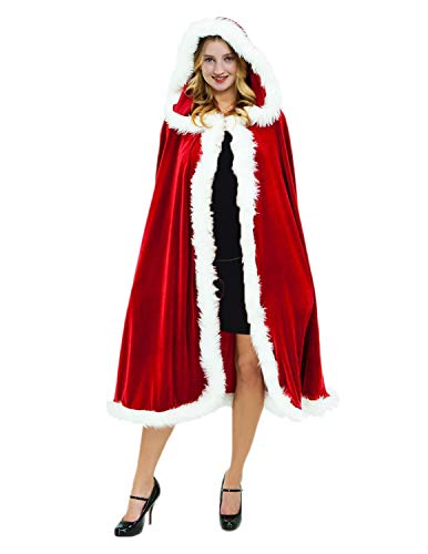Quesera Child Christmas Santa Cloak Deluxe Velvet Mrs Santa Hooded Cape Costume Kids Santa Cloak - http://coolthings.us
