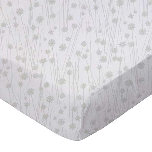 SheetWorld Fitted Sheet  - Grey Floral Stems - Made In USA