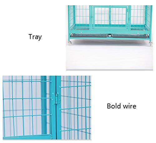 Jaula perro transportin Perro Gato Caja para Perros con Ruedas: Alambre Jaula metálica para Mascotas Cat Kennel con Bandeja de plástico ABS extraíble (Azul) ...