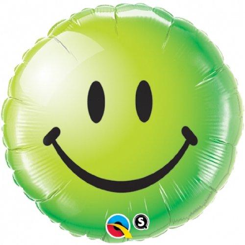 18 Multicolor Qualatex Foil Balloon 029628 Smiley Face Green
