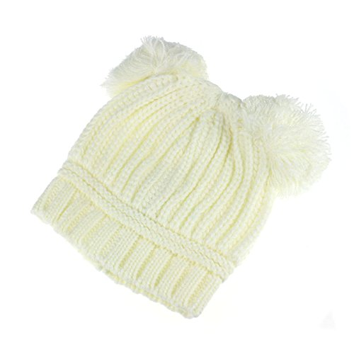 DongDong Cute Hat, Kids Solid Dual Balls Warm Winter Knitted Cap -