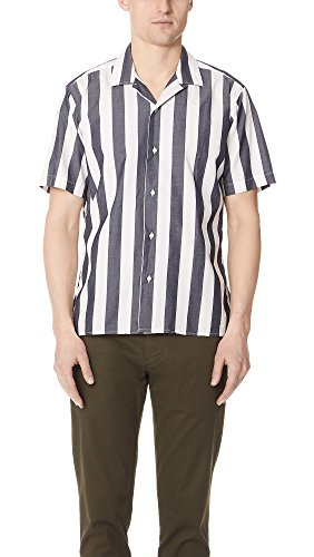 Blue Striped Camp Shirt (Gitman Vintage Men's Wide Striped Camp Shirt, Navy, Medium)