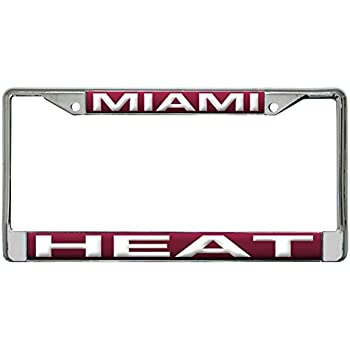 Amazon.com : Miami Heat NBA Laser Cut Chrome License Plate Frame ...