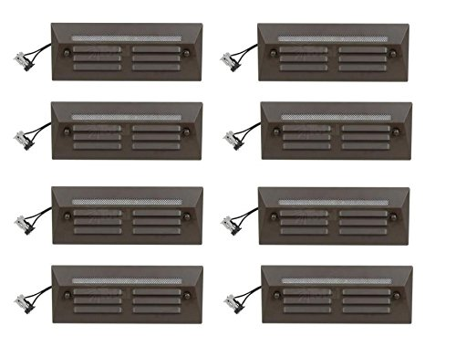 8 Pack Malibu / Proscapes 8608-0408-08 LED Full Brick Step Deck Lights, .3 watt, Low Voltage in Aged Brass Finish BY MALIBU DISTRIBUTION