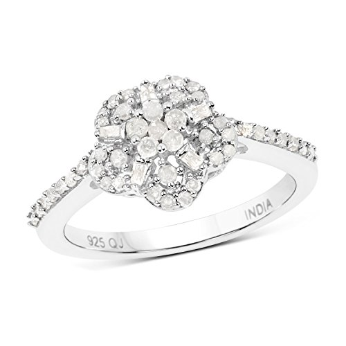 0.36 Carats Genuine White Diamond (I-J, I2-I3) Blossom Ring Solid .925 Sterling Silver With Rhodium Plating (Seven Diamond Flower Ring)