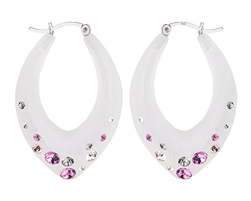 - Handcrafted Pink Lucite Click-Top Hoop Earrings with Colorful Crystals