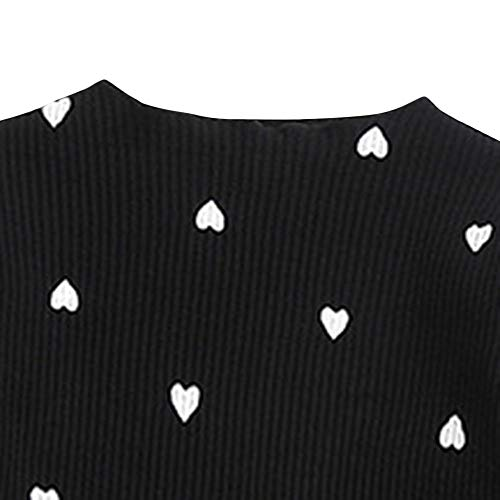 Hopscotch Baby Girls Cotton Full Sleeves Heart Printed Top in Black Color