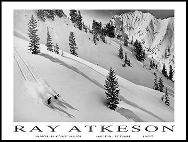 Atkeson Ski Poster of Wildcat Alta, Size 18 x 24 inches (Ski Wildcat)