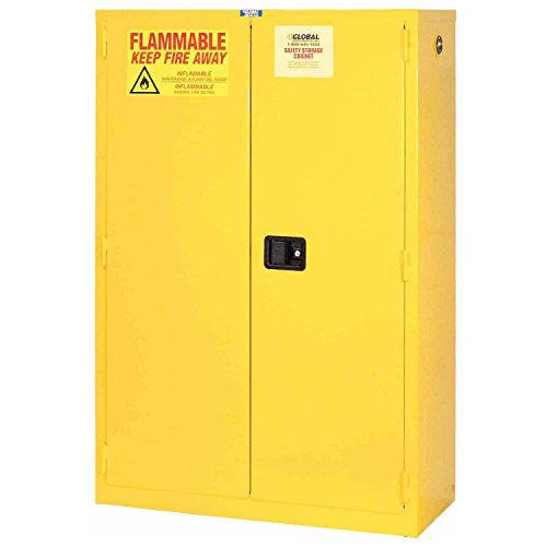 Flammable Cabinet, 44 Gallon, Manual Close Double Door, 34