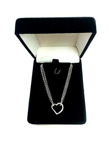 14K White Gold Double Strand With Heart Anklet, 10""