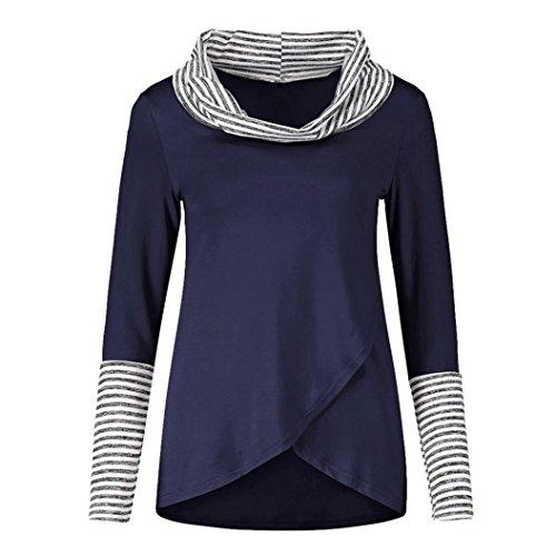 Ray Chemise T ~ XXL Chemisier Irrgulier Femmes Sweatshirt Bleu Tunique Femme Cou Fille O Longue Wolfleague S Haut Taille Pull Shirts Shirt Grande Blouse Manche wqOXXF5