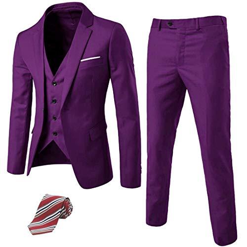 MY'S Men's 3 Piece Suit Blazer Slim Fit One Button Notch Lapel Dress Business Wedding Party Jacket Vest Pants & Tie Set Deep Purple