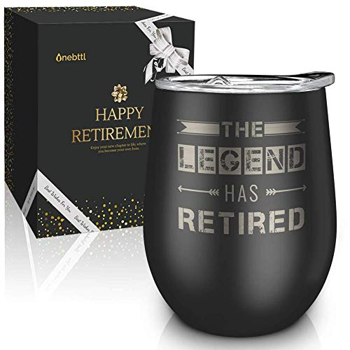 Best Unique Retirement Gifts-The Legend Has Retired-12oz Wine Tumbler with Spill-Proof Lid,Stainless Steel Double Wall Vacuum Insulated Wine Cup, For Dad, Police, Teacher, Boss, Gifts for Retired Men (Gifts The Retired Dad For)