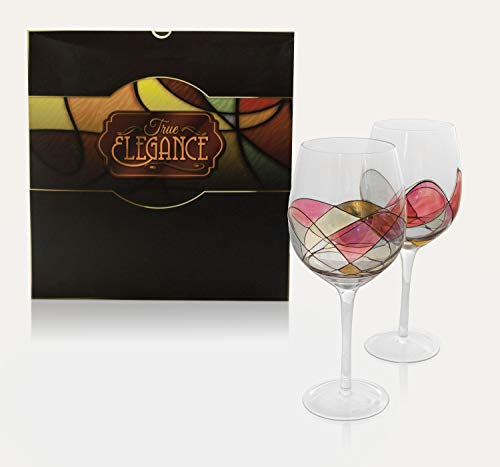 True Elegance Hand Painted Wine Glasses, Set of 2, Crystal Clear Glassware with Stunning Design