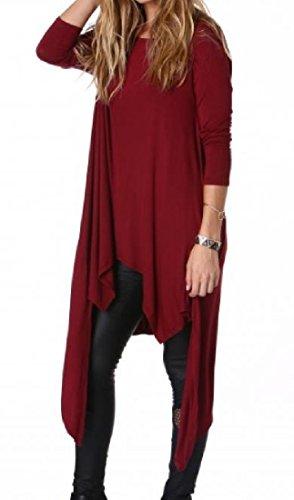 Automne Swing Occasionnel Des Femmes Coolred Manches Longues Ourlet Asymétrique Mi Robe De Vin Rouge