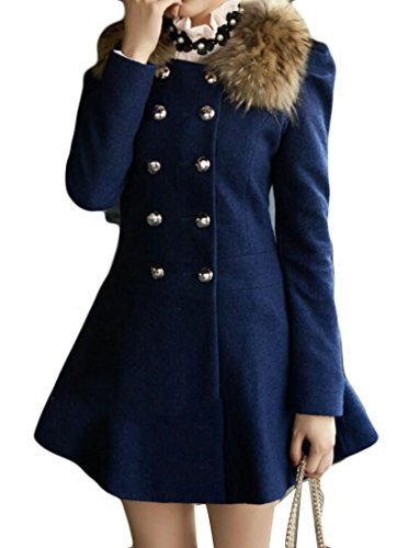 UUYUK-Women Notched Fur Collar Double Breasted Wool Blended Long Coat Royal Blue US XS (Notched Fur Coat Collar)