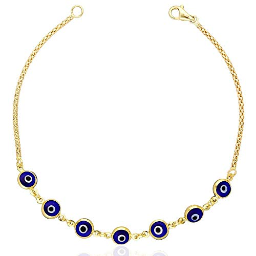 (14k Yellow Gold Bezel Evil Eye Popcorn Bracelet 7