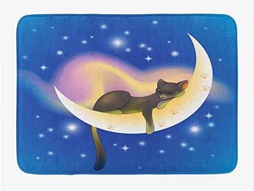 Cat,Bath Mat, Cat Sleeping on Crescent Moon Stars Night Sweet Dreams Themed Kids Nursery Design, Plush Bathroom Decor Mat with,Non Slip Backing, 23.6W X 15.7 W Inches, Blue Yellow