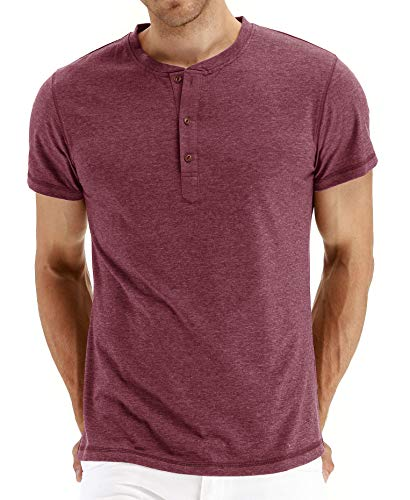 NITAGUT Mens Fashion Casual Front Placket Basic Long/Short Sleeve Henley T-Shirts (2XL, 00 Vg-Red)