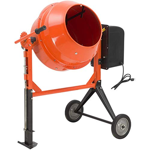 SUNCOO 3/4HP 4.2 Cu Ft Electric Concrete Cement Mixer Mortar Mixing Stucco Seeds Portable Barrow Machine