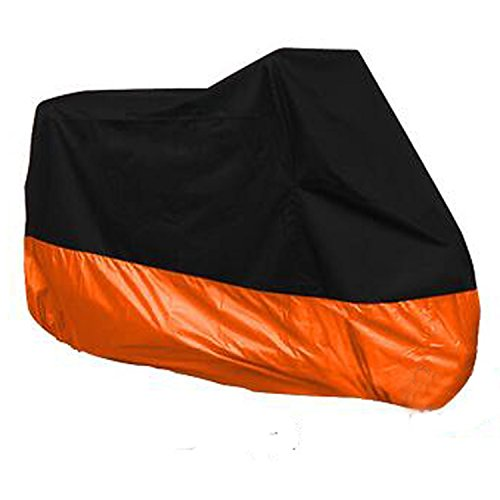 HANSWD Motorcycle Dust Cover Waterproof Uv Cover For Harley Davidson Yamaha Kawasaki Universal (XL, Black and Orange) by HANSWD
