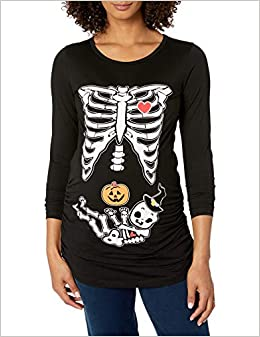 Detigee Womens Halloween Pregnancy T-Shirt Skeleton Costume Maternity Tops