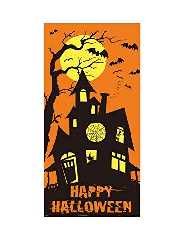 Flomo Holiday Themed Happy Halloween Scary Door Cover with Haunted Mansion for House (Halloween Themed Door Decorations)
