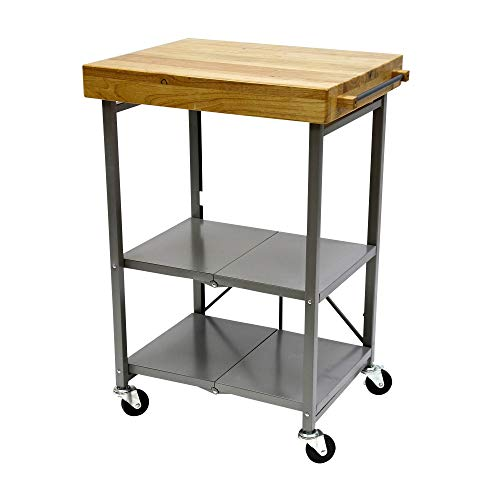 Origami Folding Kitchen Cart on Wheels | for Chefs Outdoor Coffee Wine and Food, Microwave Cart, Kitchen Island on Wheels, Rolling Cart, Kitchen Appliance & Utility Cart | Silver with Wood