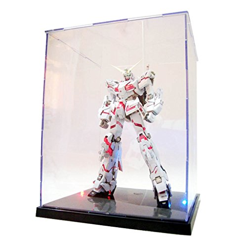 Ronri Acrylic Display Case/Box, Colorful Light Dustproof Action Figure Showcase, Self-Assembly