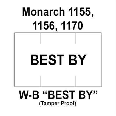 128,000 Monarch compatible 1155 ''Best By'' White General Purpose Labels to fit the Monarch 1155, Monarch 1156, Monarch 1170 Price Guns. Full Case + includes 8 ink rollers. by Infinity Labels