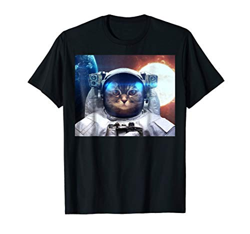 (Total Solar Eclipse 2017 Fun Cat Laser Beam Astronaut Shirt )
