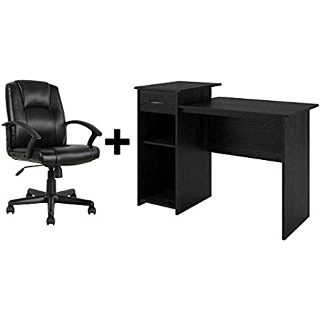 Student Desk Home Office Bedroom Furniture Indoor Desk With Leather Office Computer Chair Bundle Set Desk Plus Chair Black Ebony Ash Desk