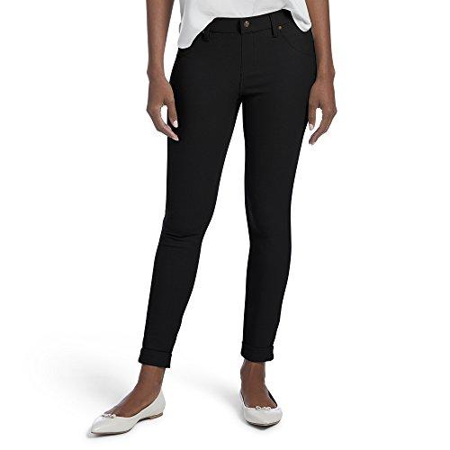 HUE Women's Plus Size Cuffed Essential Denim Skimmer Leggings, Black, 2X (Cuffed Crop Pants Maternity)