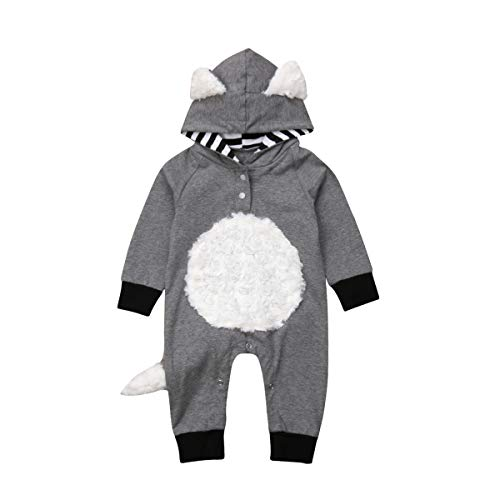 Newborn Toddler Baby Girl/Boy Halloween Clothes Fox Long Sleeve Jumpsuit Hooded Romper Overall Fall Winter Outfit (70/0-6M, Black+Grey) -