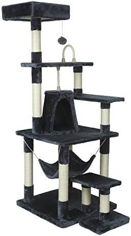 Árbol Rascador para Gatos EUGAD para Gatos 150cm con Hamaca Nidos Plataformas Bolsa de Juego