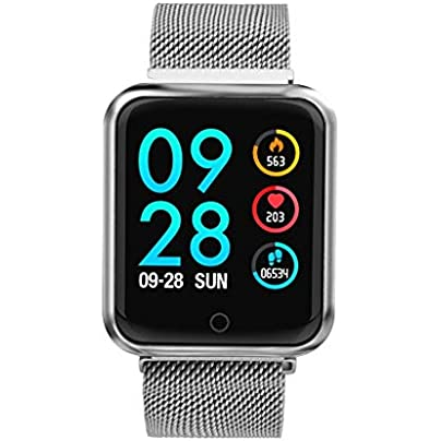 ANMY Smart Wristband for Heart Rate Monitor Blood Pressure Oxygen Sleep Pedometer Motion Long Standby IP68 Waterproof Fitness Tracker Steel Strip Silver Estimated Price £65.99 -