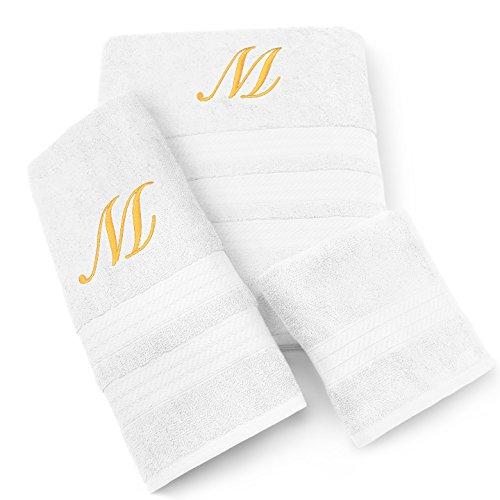 (KAUFMAN - MILAN 3 PIECE WHITE TOWEL SET WITH GOLD MONOGRAM (D))