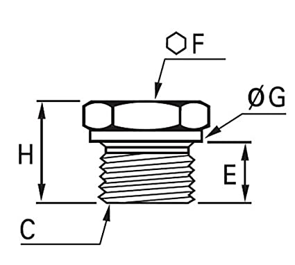 M10 x 1 Hexagon Head Male M10x1 Brass Metric Parker 0200 60 00-pk10 Plug Pack of 10