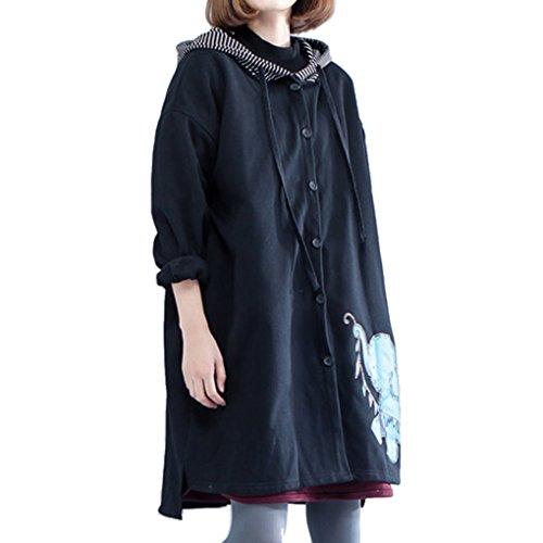 Jacket Size Thickening Trench Coat YunPeng Womens Black1 Large Loose Coat Diverse wqpwYtnI