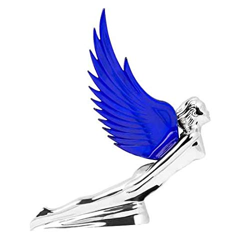 Chrome Flying Goddess Hood Ornament With Blue Wings -